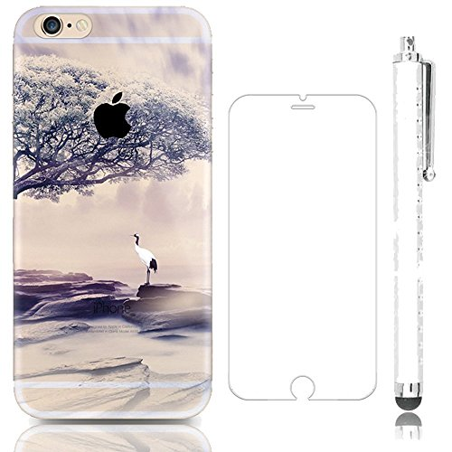 iPhone 4s 4 soft tpu case, Sunroyal Slim Crystal Translucent Fodable Anti-scratch Protective Shell Cover [HD Super Clear Glass Screen Protector] White Crane Tree Cloud Stone Landscape