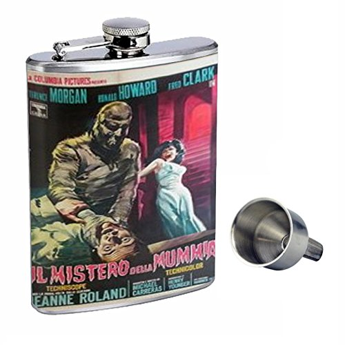 Curse of the Mummy's Tomb 1964 Perfection In Style 8oz Stainless Steel Whiskey Flask with Free Funnel D-391 (The Curse Of The Mummys Tomb 1964)