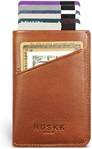 Unique 3 pocket Slim Card Holder - Front Pocket Wallet - RFID Blocking - Money clip Strap - Minimalist Leather Credit Card Sleeve - Men - HUSKK