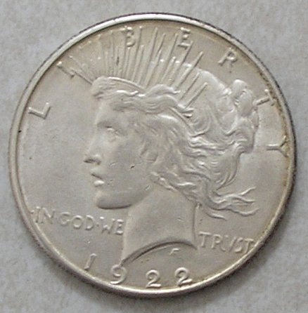 1922-S $1 Peace Silver Dollar AU About Uncirculated