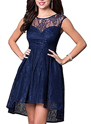 OWIN Women's Retro Lace High-Low Formal Homecoming Party Evening Cocktail Bridesmaid Dress