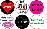 Set of 6 AVON Pinback Buttons (makeover skin care sales rep)