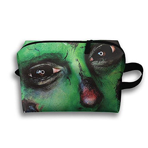 Portable Travel Toiletry Pouch Travel Bag Toiletry Bag Buggy Bag Halloween Makeup Green Zombies Printing Clutch Bag With (Zip Makeup Halloween)