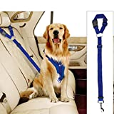 Cheap Docamor Adjustable Pet Dog Cat Car Seat Belt Strap Restraint Safety Leads Vehicle Seatbelt Harness Nylon Fabric Sapphire Blue Elastic Durable Belt for Car