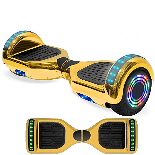 NHT Electric Hoverboard Self Balancing Scooter with Built-in Bluetooth Speaker LED Lights - Safety Certified for Adult Kids Gift (Chrome Gold)