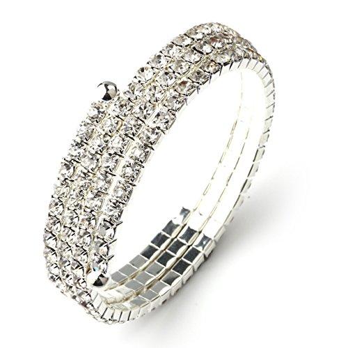 Soograin Women's Wedding Austrian Crystal Rhinestone Bangle Bracelet (3 (3 Rhinestone Bangles)