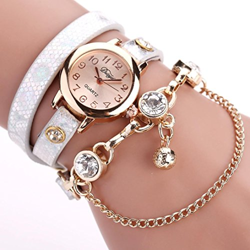 Analog Set Bracelet - Pocciol Women Diamond-Set Bracelet Watch Fashion Luxury Bead Pendant Watches Ceramic Band High Precision Quartz Movt Watch (White)
