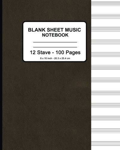 Sheet Music Cover (Blank Sheet Music Notebook - Faux Brown Leather Print: 8