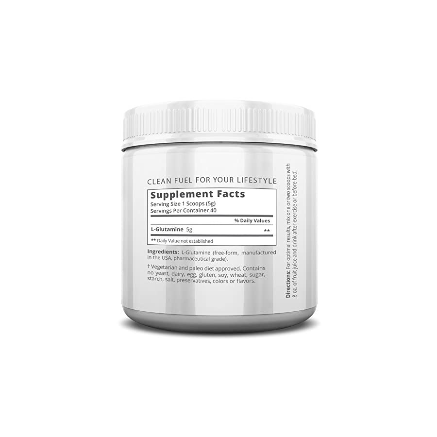 AMRAP Nutrition L Glutamine Powder Pure Micronized Free Form Glutamine Recovery Powder Clinically Proven Recovery Aid for Men and Women Safe for Regular Consumption 200 grams