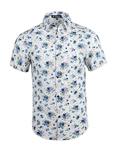 uxcell Men Casual Button Closure Flower Pattern Shirt Large Off ()
