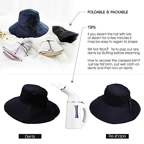 UV Protection Sun Hats Women Summer Gardening Fishing Hiking Travel Shade Hat Wide Brim Foldable Cotton Black Siggi by SiggiHat (Image #7)