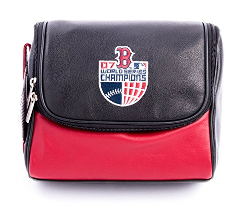 - Officially Licensed Genuine MLB Boston Red Sox Deluxe Black Leather Toiletry Travel Kit