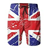 confirm vt British Flag Crack Men's Summer Beach Quick-Dry Surf Swim Trunks Boardshorts Cargo Pants
