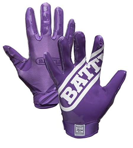 Battle 9323AM Double Threat Football Gloves, Purple/Purple, Medium by Battle