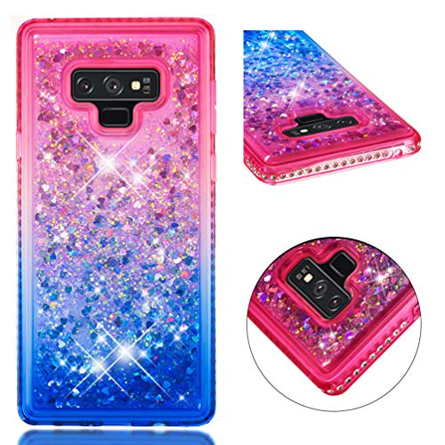 Note 9 case, MOTIKO Fashion Design Shiny Gemstone Rhinestone Bling Glitter Sparkle Flowing Liquid Quicksand Moving Sequins Protective Soft TPU Rubber Cover - Powder Blue Gradient ()