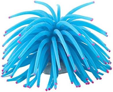 uxcell アクアリウム装飾 水槽 11cm ブルー ソフト シリコン 人工 イソギンチャク飾り