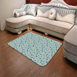 YOLIYANA Short Fur Floor Mat,Asian,for Home Meeting Room,55.12'' x78.74'',Panda Bears Koi Fishes Chopsticks Tea