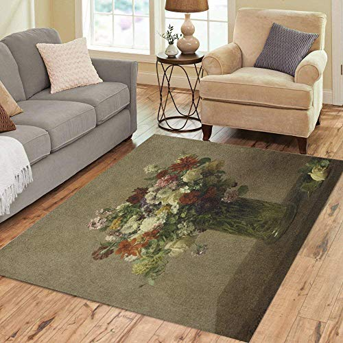 Pinbeam Area Rug Flowers from Normandy by Henri Fantin Latour 1887 Home Decor Floor Rug 5' x 7' Carpet