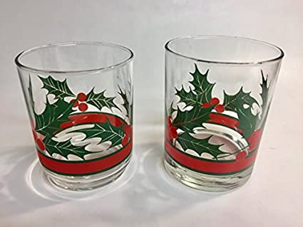 vintage libby glassware set of 4 christmas drinking glasses - Christmas Drinking Glasses