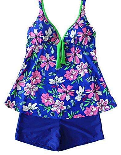 NEWZCERS Mujeres halterneck más tamaño floral impreso tankini conjunto con pantalones cortos de verano traje de baño de verano Azul