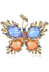 Alilang Womens Adjustable Gold Tone Multicolored Rhinestones Pearlescent Butterfly Ring