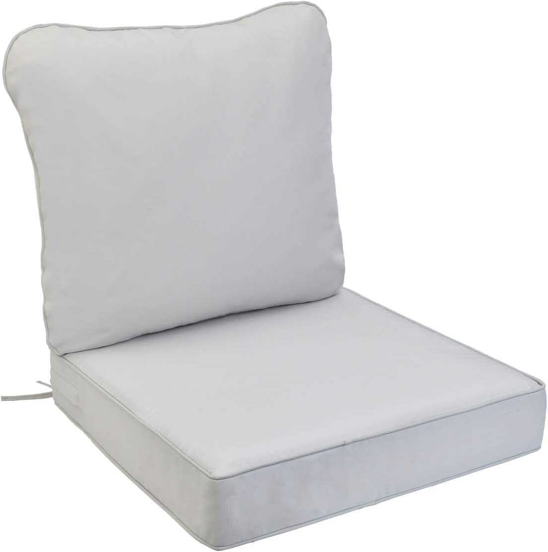 AAAAAcessories Outdoor/Indoor Water-Resistant Deep Seat Chair Cushion, Replacement Patio Furniture Cushions, 24 x 24 x 5 Inch, Light Gray/Cool Gray