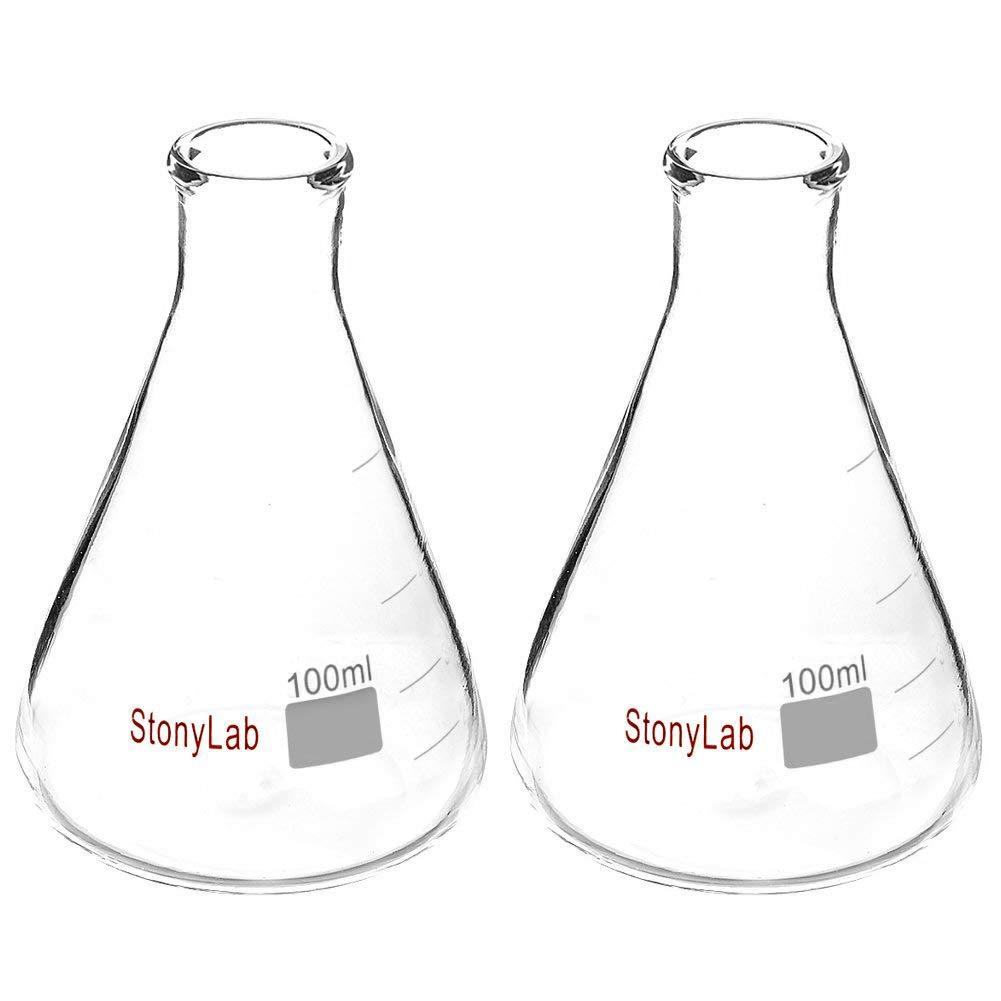 StonyLab 2-Pack Glass 100ml Heavy Wall Narrow Mouth Erlenmeyer Flasks with Heavy Duty Rim - 100ml