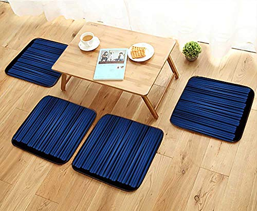 Jiahonghome Chair Cushions Flat Panel of Blue Stage Theater Drapes Lit with Stagelights Non Slip Comfortable W25.5 x L25.5/4PCS Set (Panel Wishbone Flat)
