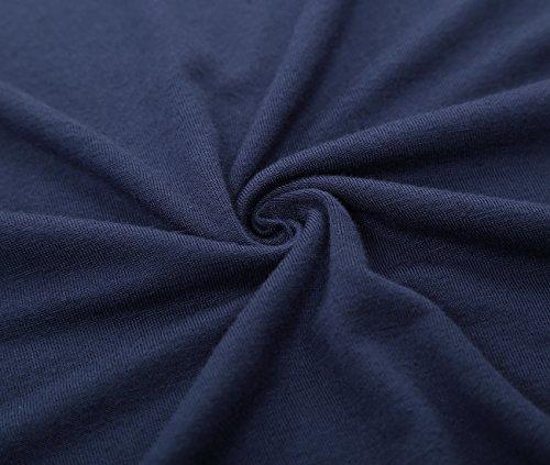 Blu In Djt Pizzo Maglietta Rotondo Lunga Collo Donna Bordo A Manica xHqHvIg