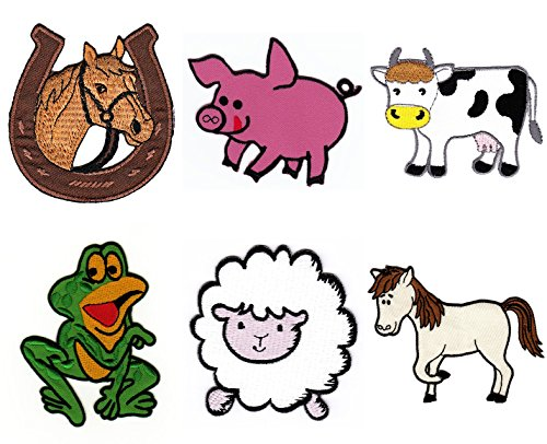 6 Farm Animals Horse Pony Cow Pig Sheep Frog Patch Children Kids Baby Sew-on Iron-on Patches Embroidered Applique