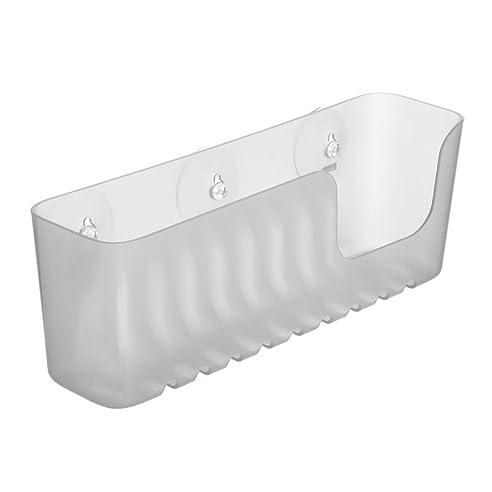 duschregal kunstoff von sanixa duschablage ohne bohren mit saugnpfen duschkorb wannenablage stabil 30 cm badregal badablage - Seifenablage Dusche Ohne Bohren