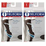 Truform Compression 30-40 Mmhg Sheer Thigh High Stockings Black, Medium, 2 Count