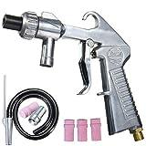 Sandblasting Gun Kit, Air Gun Sprayer, Grit Blasting, Air Siphon Gun with Metal/Ceramic Nozzles& Pipe, Nozzle Gun Gravity Feed Sandblast Kit Speed Blaster Tool