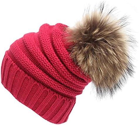 ce285b1265788 AMA(TM) Women Winter Warm Fur Ball Hat Slouchy Knitted Beanie Ski Cap Beret