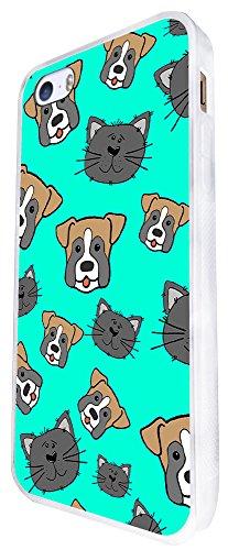 1504 - Cool Fun Trendy Cute Dog And Cats Pets Collage Animals Design iphone SE - 2016 Coque Fashion Trend Case Coque Protection Cover plastique et métal - Blanc