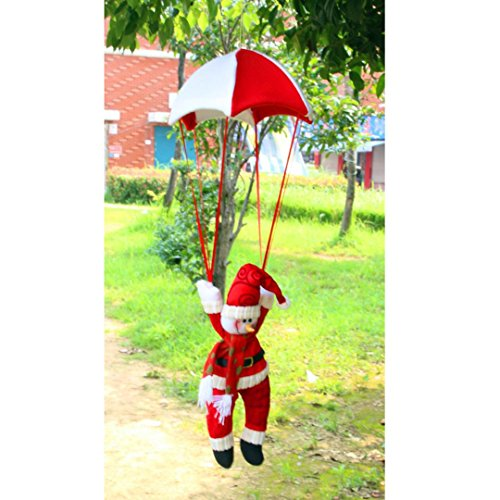 Christmas Ornament Santa Claus Pendant Snowman In Parachute Christmas Tree Hanging Xmas Decoration (Red, B) (Show 2017 Dickens Christmas)