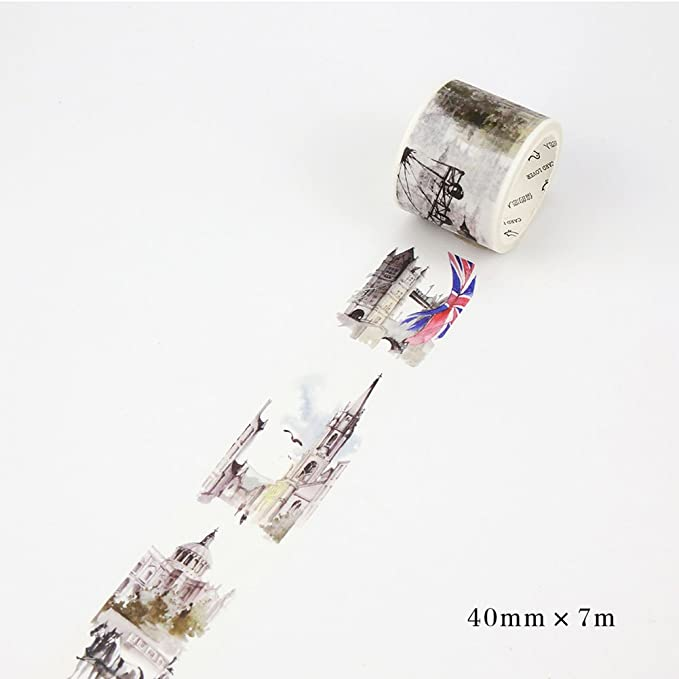 Etbotu Washi Tape, Adhesive Sticker with Architecture