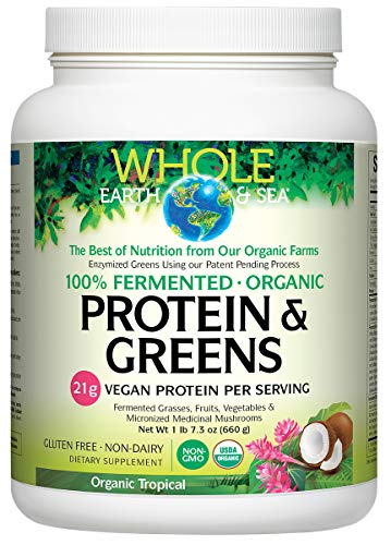 Natural Factors - Whole Earth & Sea Fermented Greens Plus Protein Tropical, 1lb 7.3 Ounce ()