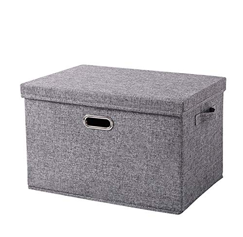 EZ GENERATION Large Foldable Storage Bins with Removable Lid and Handles Linen Fabric Storage Boxes Organizer Containers Storage Baskets Cube for Home Bedroom Closet Office Nursery-Gray (L)
