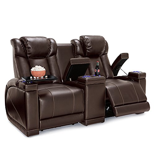 Seatcraft Sigma Home Theater Seating Loveseat Leather Gel Recline with Adjustable Powered Headrests, Center Console, Hidden in-Arm Storage, USB Charging, and Lighted Cup Holders, Brown
