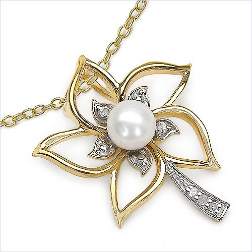 Bijoux-Schmidt-Collier / Chain avec Pearl / zircon pendentif en argent plaqué 1,12 carats