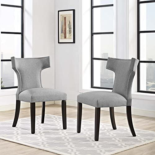 Modway Curve Mid-Century Modern Upholstered Fabric Two Kitchen and Dining Room Chairs with Nailhead Trim in Light Gray