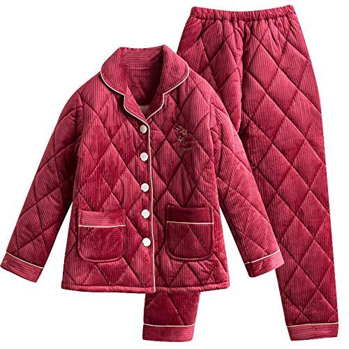 Gwdj De Roja Espesar Hogar Pisos Tamaño Pijamas Red Para Recién Amantes Metro Ropa Conveniente Color Hogar female Casada Algodón Mujer Invierno Tres Hombres El rq04rEzx