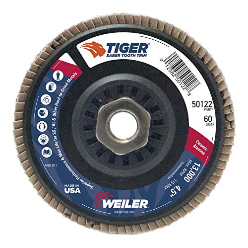 Weiler Trimmable Back Saber Tooth Abrasive Flap Disc, Type 29, Threaded Hole, Phenolic Backing, Ceramic Aluminum Oxide, 4-1/2