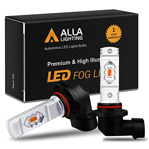 Alla Lighting 3800lm H10 9145 Red LED Fog Lights Bulbs ETI 56-SMD Xtreme Super Bright 9140 H10 9145 LED Bulbs Replacement for Cars, Trucks, SUVs, Vans