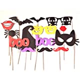 14pcs HALLOWEEN FUNNY PHOTO BOOTH PROPS ON STICK WEDDING TRICK OR TREAT SCARY PHOTOGRAPHY