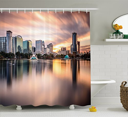 - Ambesonne American Shower Curtain, USA Florida Downtown City Skyline View from The Lake Foggy Scenic Panorama, Fabric Bathroom Decor Set with Hooks, 70 Inches, Teal Peach Grey