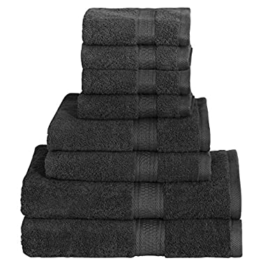 8 Piece Towel Set (Black) 2 Bath Towels, 2 Hand Towels & 4 Washcloths - 100% Cotton By Utopia Towels