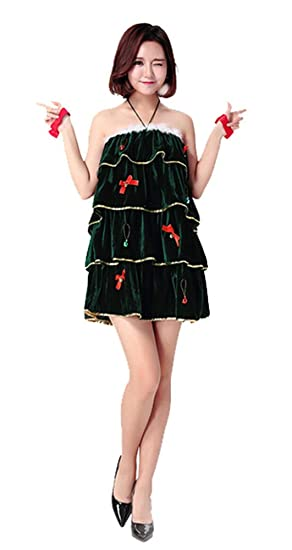e7b7b6b19442 Image Unavailable. Image not available for. Color: Paniclub Christmas Tree  Halter Dress Costume Sleeveless Sexy Outfit