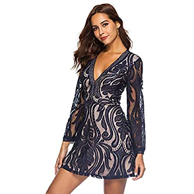 Plusnuolee Women's Deep V Neck Elegant Lace Cocktail Evening Party Dress